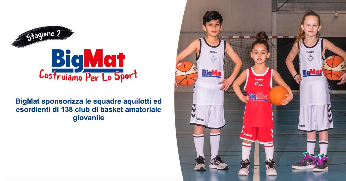 BigMat sponsorizza le squadre aquilotti ed esordienti di 138 club di basket amatoriale giovanile